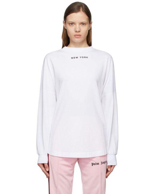 Palm Angels ホワイト New York Sprayed ロゴ ロング スリーブ T シャツ White