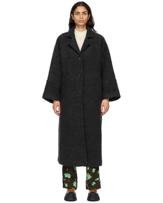 Ganni ブラック オーバーサイズ コート Black