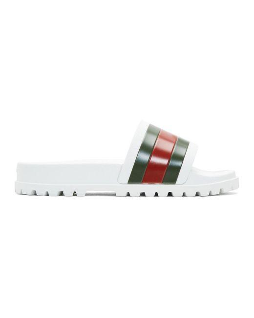 Gucci - White Web Slide Sandal for Men - Lyst