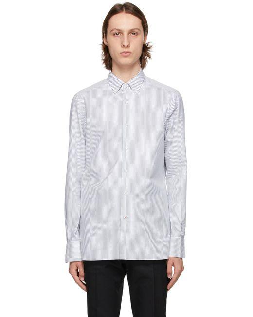 メンズ Isaia ブルー & ホワイト ストライプ オックスフォード シャツ Blue
