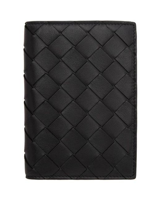 メンズ Bottega Veneta ブラック イントレチャート バイフォールド パスポート ホルダー Black