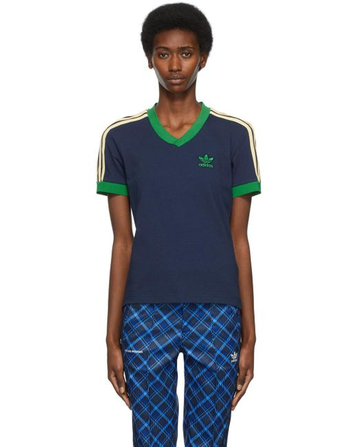 Wales Bonner Adidas エディション ネイビー Striped V ネック T シャツ Blue