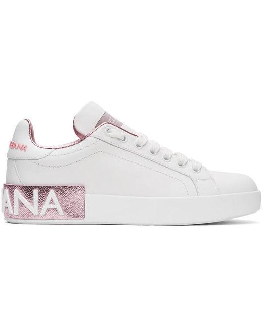 Dolce & Gabbana ホワイト And ピンク ポルトフィーノ スニーカー Pink