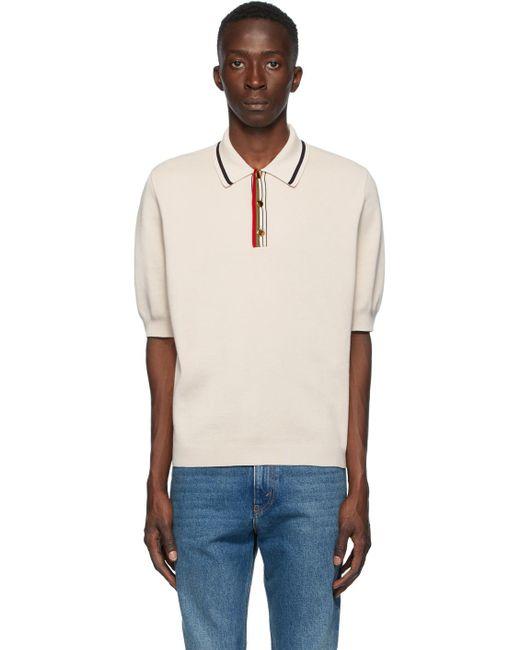 メンズ Gucci ベージュ ファイン コットン ニット ポロシャツ Natural