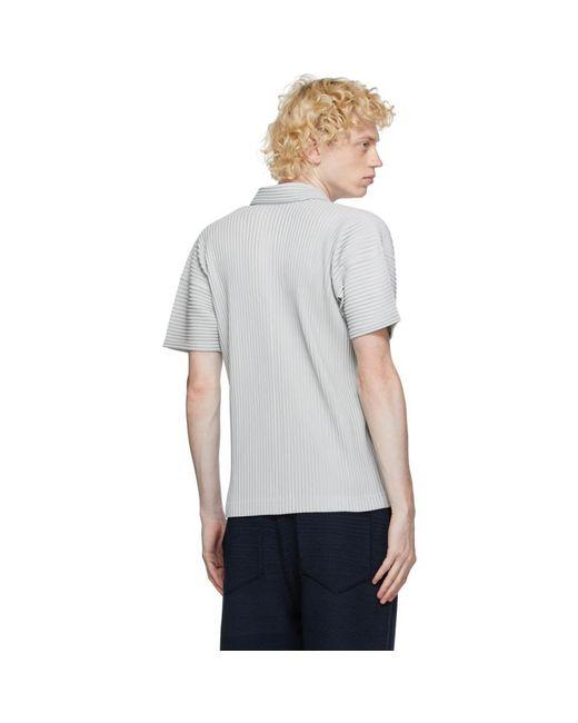 メンズ Homme Plissé Issey Miyake グレー ベーシック ポロシャツ Gray