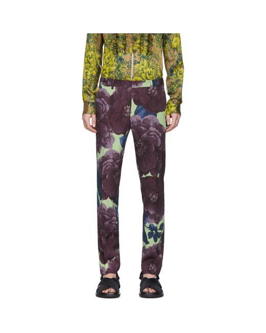 メンズ Dries Van Noten パープル And グリーン ウール フローラル トラウザーズ Purple