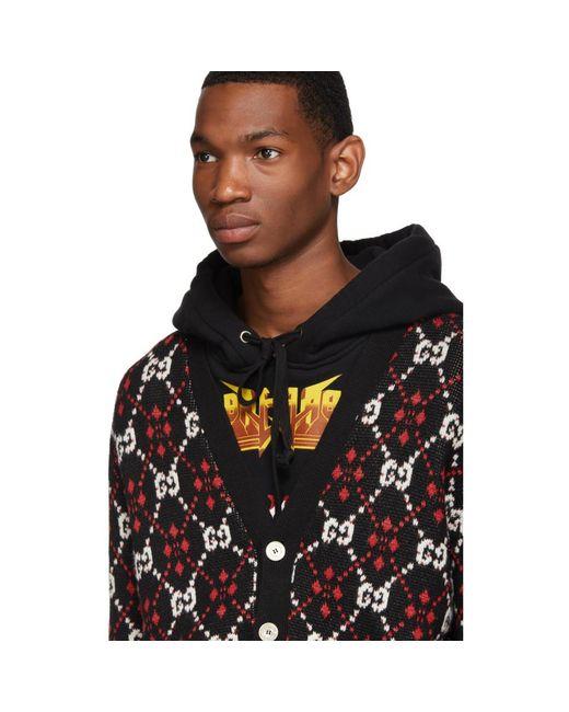 f69576f7 Gucci Wool Black GG Cardigan for Men - Save 17% - Lyst