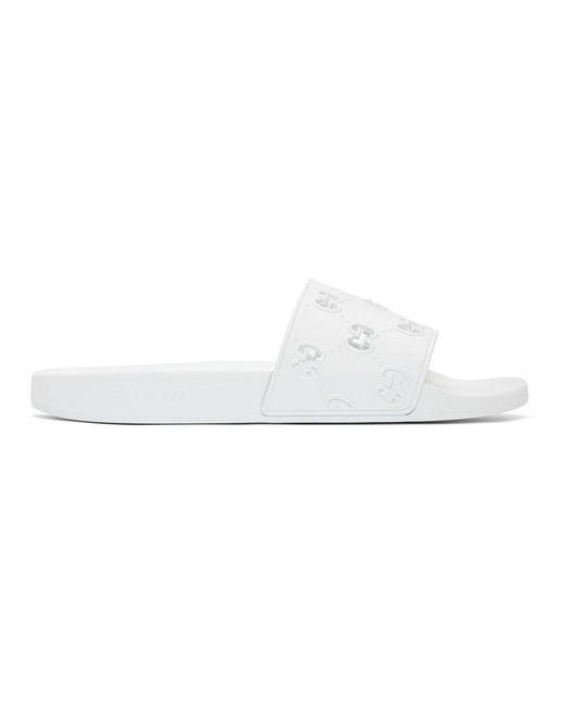 メンズ Gucci ホワイト GG スライド White