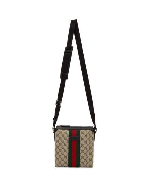 メンズ Gucci ベージュ GG スプリーム フラット メッセンジャー バッグ Natural