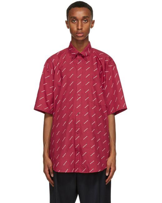 メンズ Balenciaga レッド ロゴ ノーマル フィット ショート スリーブ シャツ Red