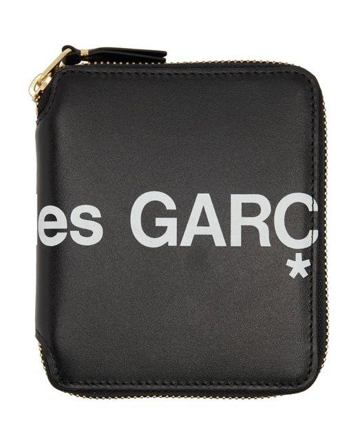 メンズ Comme des Garçons ブラック Huge ロゴ ジッパーアラウンド ウォレット Black