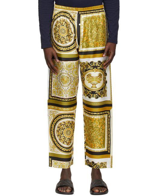 メンズ Versace ゴールド Barocco Mosaic ラウンジ パンツ Metallic