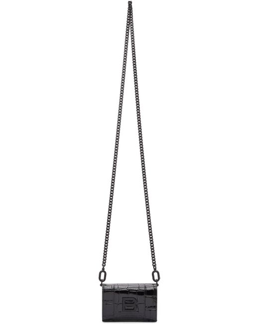 Balenciaga ブラック クロコ ミニ Hourglass ウォレット バッグ Black