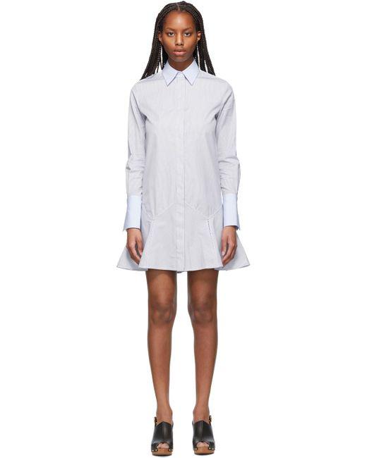 Victoria, Victoria Beckham ネイビー & ホワイト Patchwork Flounce Hem シャツ ドレス White