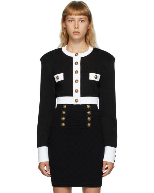 Balmain ブラック & ホワイト ボタン ショート ジャケット Black