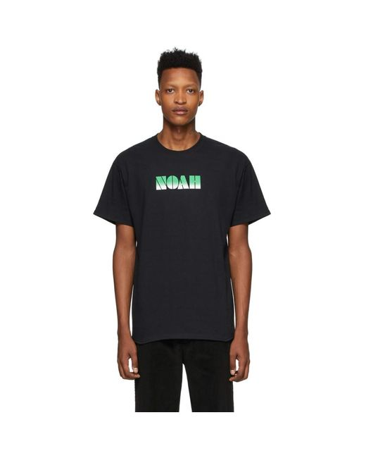 メンズ Noah NYC ブラック グラディエント ロゴ T シャツ Black