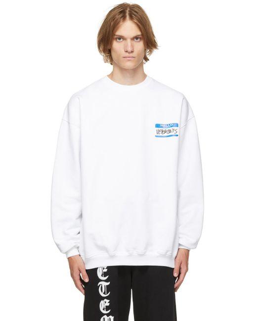メンズ Vetements ホワイト My Name Is スウェットシャツ White