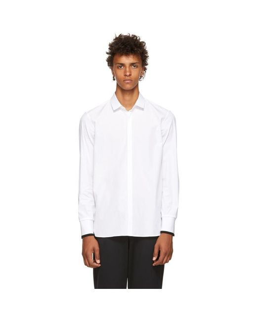 Neil Barrett - White Poplin Rib Cuffs Shirt for Men - Lyst