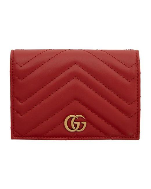 Gucci Red GG Marmont 2.0 Passport Holder