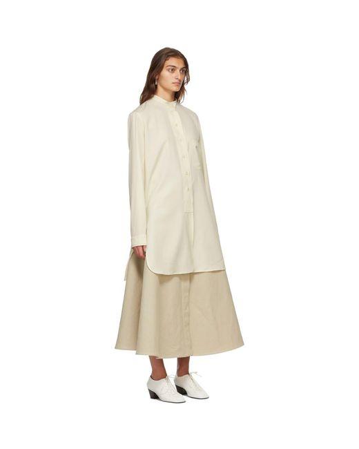 Lemaire オフホワイト ウール ロング シャツ White
