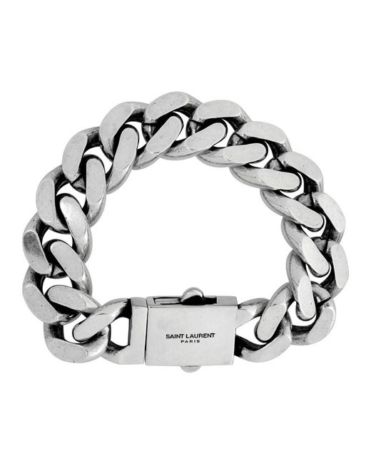 メンズ Saint Laurent シルバー カーブ チェーン ブレスレット Metallic