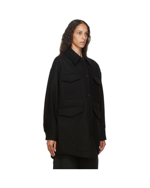 MM6 by Maison Martin Margiela ブラック ウール オーバーサイズ コート Black