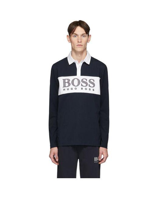 メンズ BOSS by Hugo Boss ネイビー Plisy1 ロング スリーブ ポロ Blue