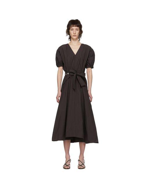 3.1 Phillip Lim ブラウン ギャザー ユーティリティ ドレス Black