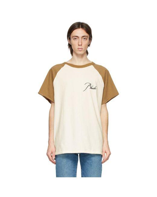 メンズ Rhude オフホワイト And タン ラグラン ロゴ T シャツ White