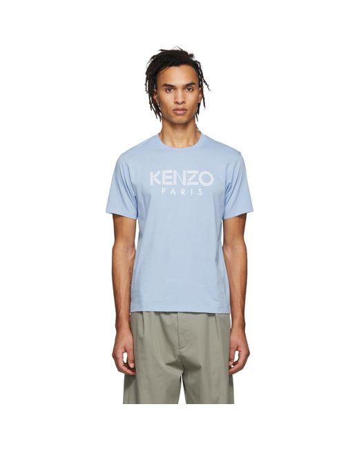 メンズ KENZO ブルー クラシック ロゴ T シャツ Blue