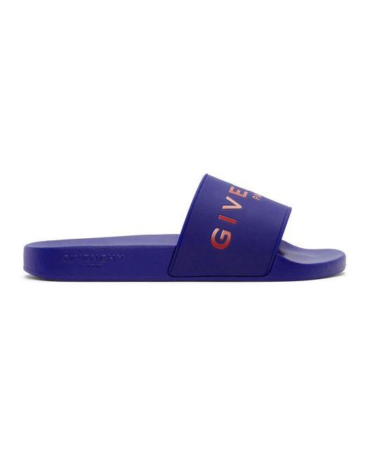 Givenchy - Blue Logo Slides for Men - Lyst