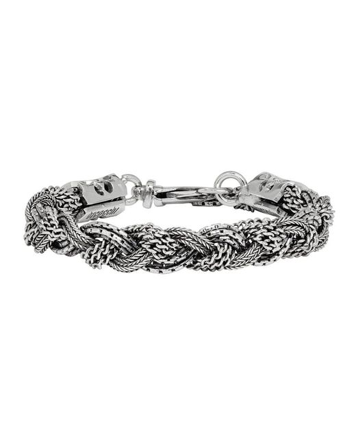 Emanuele Bicocchi - Metallic Silver Braided Bracelet for Men - Lyst