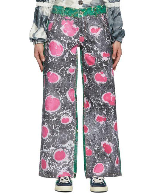 Chopova Lowena ブラック & ピンク Marbled ジーンズ Pink