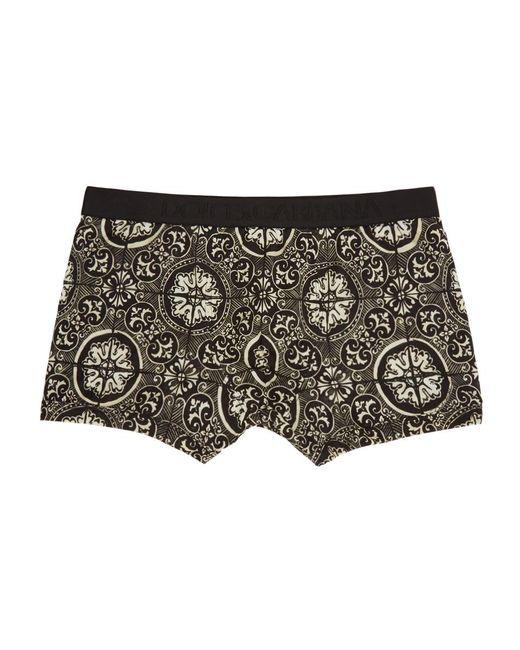 メンズ Dolce & Gabbana ブラック マヨリカ ボクサー Black