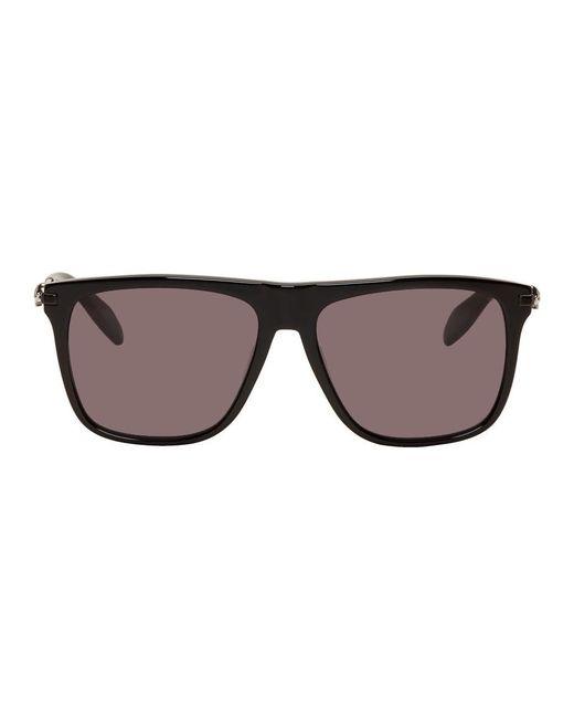 メンズ Alexander McQueen ブラック フラット トップ サングラス Black