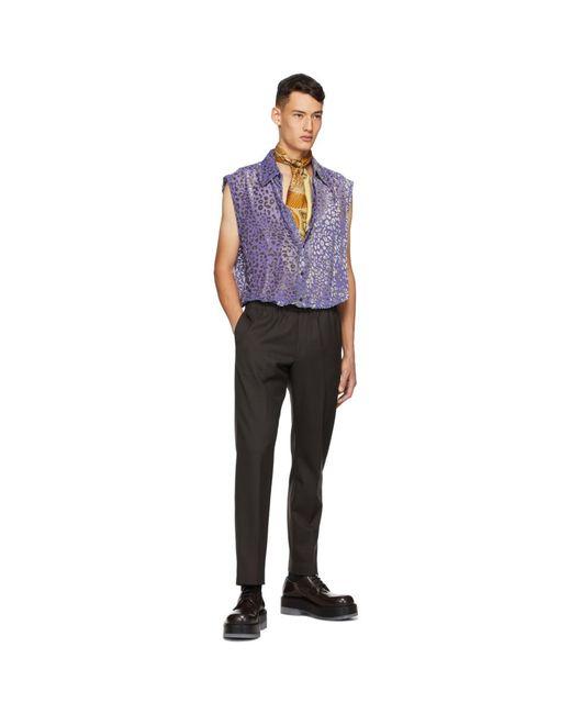 メンズ Dries Van Noten パープル シルク シャツ Purple
