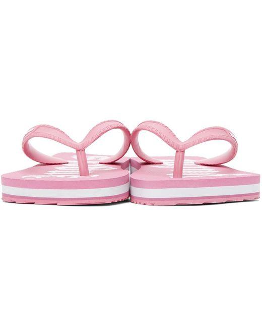 Palm Angels ピンク & ホワイト New ロゴ ビーチ サンダル Pink