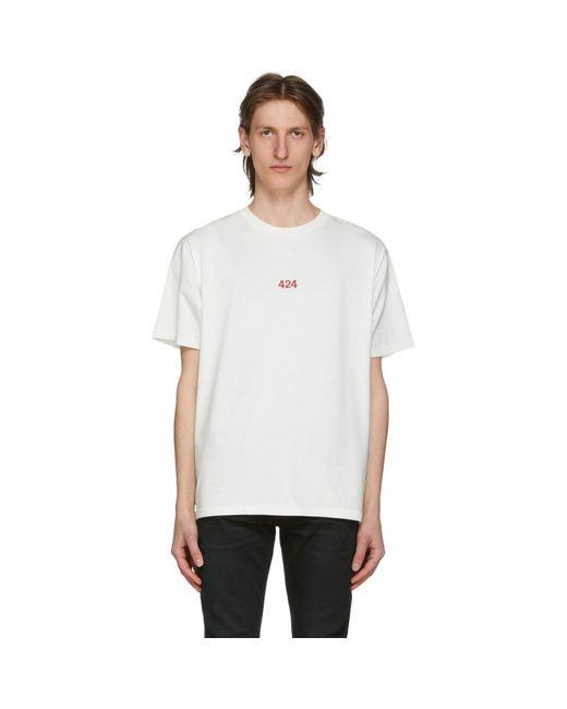 メンズ 424 ホワイト ロゴ T シャツ White