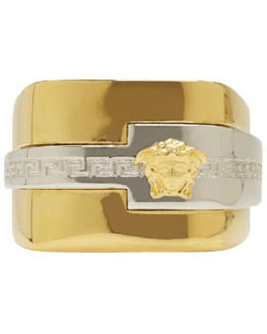 Versace   Metallic Gold & Silver Large Medusa Ring for Men   Lyst