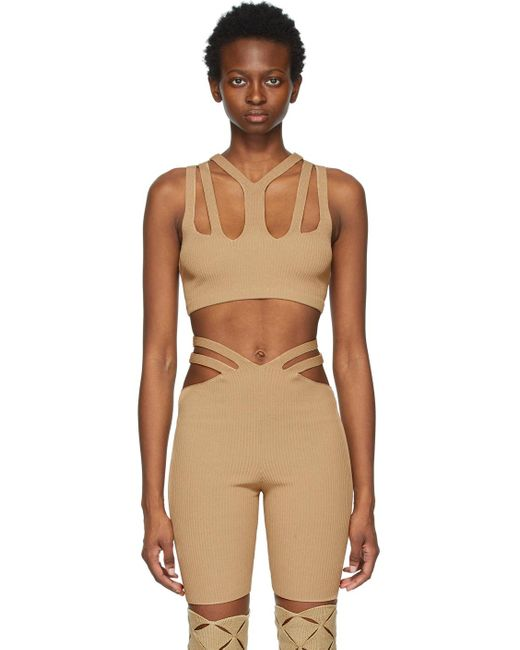Dion Lee ベージュ クロップド Lustrate Fork タンク トップ Natural
