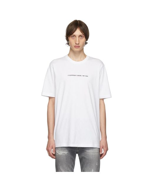 メンズ DIESEL ホワイト T-just-copy T シャツ White