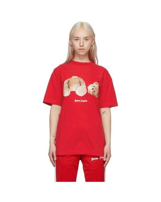 Palm Angels レッド Bear T シャツ Red