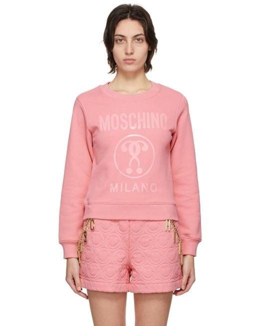 Moschino ピンク Double Question Mark スウェットシャツ Pink