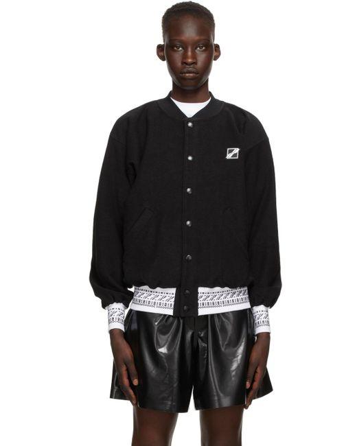 we11done ブラック ロゴ ボンバー ジャケット Black