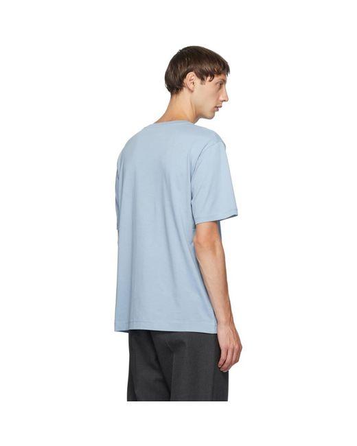 メンズ Dries Van Noten ブルー ラウンド カラー T シャツ Blue