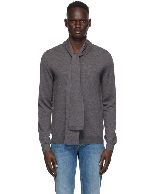メンズ Maison Margiela グレー ゲージ 12 マフラー V ネック セーター Black
