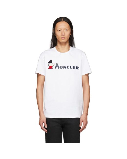 メンズ Moncler ホワイト Maglia ロゴ T シャツ White