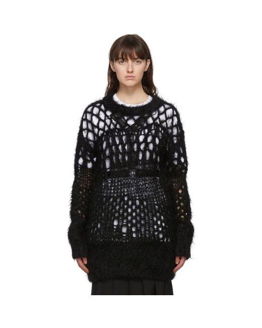 Junya Watanabe ブラック ウール Open Knit セーター Black