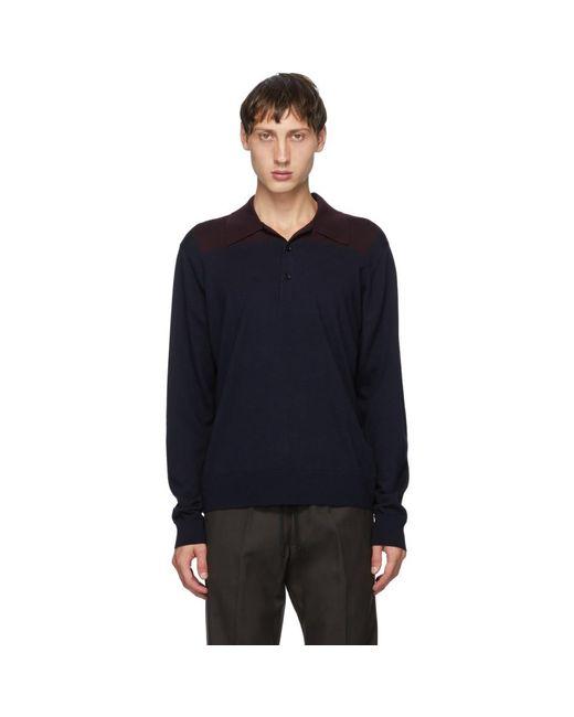 メンズ Dries Van Noten ネイビー And バーガンディ ブロック カラー ロング スリーブ ポロシャツ Blue