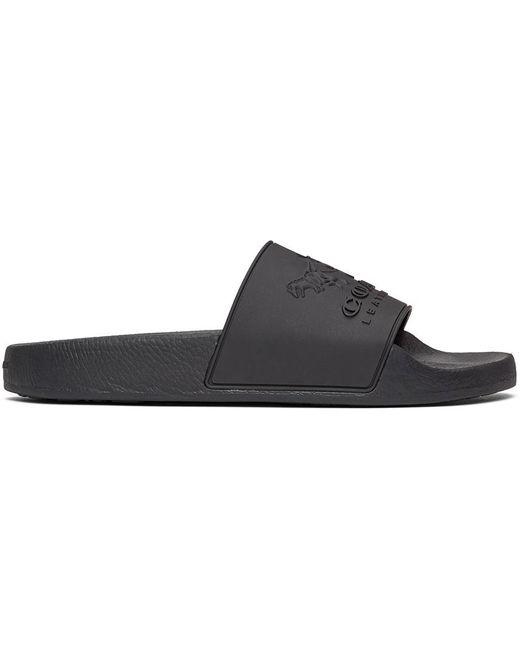 メンズ COACH ブラック 3d ロゴ スライド Black